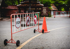 Signs no parking sign prohibiting the turn. Signs no parking sign prohibiting the turn barriers across parking lot Royalty Free Stock Photography