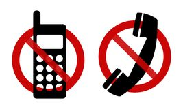 Signs: No phone, please!. Signs: using of phone is not allowed! Two type of pictogram on the white background vector illustration
