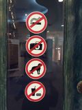 Signs. No smoking Signs,Do not use Flash Signs,Dog Prohibition Signs,Do not bring food and beverage Signs Royalty Free Stock Photos