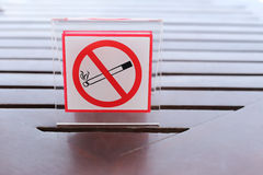 Signs of no smoking on the table. Stock Images