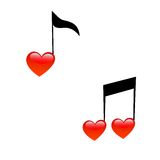 Signs notes in form hearts. The symbol of music and love. Signs of notes in the form of hearts vector illustration