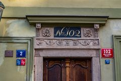 Signs and numbers in Prague, Czech Republic royalty free stock photo