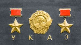 Free Signs Of The Order Twice Hero Of The Soviet Union Gold Star Royalty Free Stock Photo - 124663615