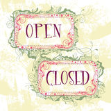 Signs open closed Stock Image