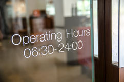 Opening hours sign. Signs of the opening time Royalty Free Stock Photos