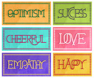 6 signs with optimistic decorative letters in pastel colors Royalty Free Stock Images