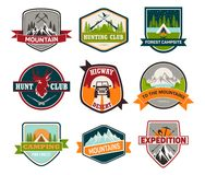 Signs Or Badges For Hunting And Climbing, Camping Royalty Free Stock Image