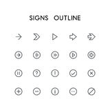 Signs outline icon set Royalty Free Stock Image