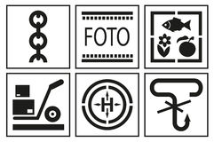 Signs on packaging. Logistic icon for box. Packaging Box Symbols Stock Photo