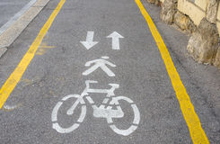 Signs Painted on Asphalt. Signs Painted on the Asphalt of a Pedestrian and Bicycle Lane Stock Images
