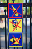 Signs in the park. Stock Photos