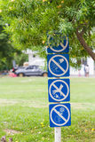 Signs at park Stock Images