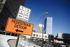 Signs for pedestrian detour Stock Photography