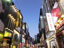 Signs in Pedestrian mall - Seoul. Night time signs at pedestrian mall - Seoul South Korea Stock Photos