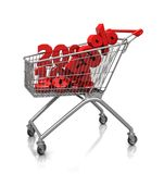 Signs of percent in cart. Different signs of percent placed in shop cart, 3d image Royalty Free Stock Photos