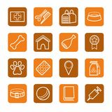 Signs, pet products, pet supplies, white, contour, brown, orange background. Stock Photo