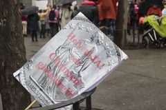 Signs and plaques on Womens march in Zurich royalty free stock image