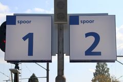 Signs of the platform numbers on station Boskoop in the Netherlands.  royalty free stock photo