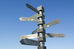 Signs point with mileage totals to Berlin, Jerusalem, New York, South Pole, Paris, Rio De Janeiro at Cape Point, Cape of Good Hope. Outside Cape Town, South Stock Images