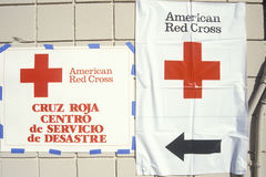 Signs pointing to the American Red Cross. Disaster Service Center in the Santa Clarita area of Los Angeles after the 1994 earthquake royalty free stock photos
