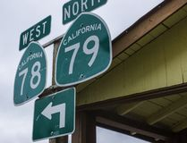 Signs pointing to Highways 78 and 79 in Julian California stock photo