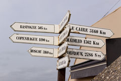 Signs Pointing to Various World Capitals Royalty Free Stock Images