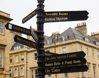 Signs Pointing the Way in Bath England stock photos