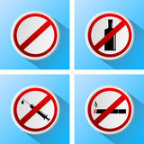 Signs that prohibit bad habits Stock Images