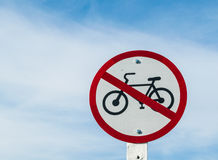 Signs prohibiting bicycles. Royalty Free Stock Photography