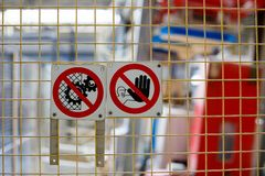Signs of prohibition on production stock photo