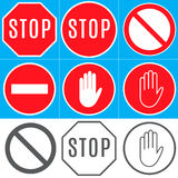 Signs. Prohibitory signs: Stop; Other hazards; No entry; unauthorized entry is prohibited Royalty Free Stock Photography