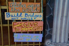 Protest Signs. Signs of protest in Pahoa, Hawaii Stock Photo