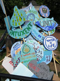Signs at the Protest Rally Stock Photos