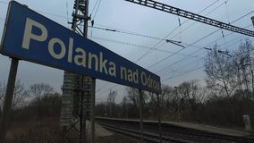 Signs of the railway station. In Czech Republic. Using of camera slider stock footage