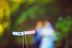 Signs read Mr and Mrs or Mr. and Mrs. at a wedding reception above the bride and groom, happy lovers are bridesmaids.  royalty free stock photography