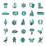 Signs. Recreation, Travel & Vacation. Fourth set. Signs. Recreation, Travel & Vacation. Fourth set color icons Stock Photo