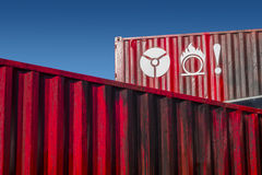 Signs on red metal container Stock Image