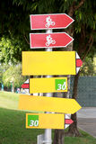 Signs in red and yellow. Royalty Free Stock Photography