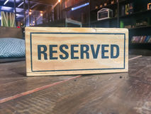 Signs Reservation on the table. Royalty Free Stock Photos