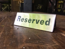 Signs Reservation on the table. Stock Photo