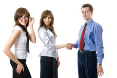 Signs on respect. The union of young business man and business women. Isolated over white Stock Photography