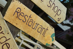 Signs restaurant is located at the park. Stock Images
