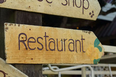Signs restaurant is located at the park. Royalty Free Stock Photography