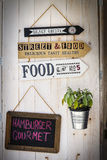 Signs restaurant. Retro arrows. Decoration wooden background Stock Image
