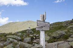 Signs at the ridge leading to Mt. Washington Royalty Free Stock Image