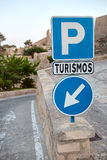 Signs on the road in Alicante, Santa Barbara, Spain Royalty Free Stock Images