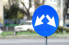 Signs road. Blue signs bypass compulsory in the city stock images