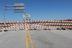 Signs for Road Closed over bridge Royalty Free Stock Photography