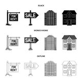 Signs of sale and rent, a skyscraper, a two-story cottage.Realtor set collection icons in black,monochrome,outline style. Vector symbol stock illustration royalty free illustration