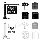 Signs of sale and rent, a skyscraper, a two-story cottage.Realtor set collection icons in black,outline style vector. Symbol stock illustration Royalty Free Illustration